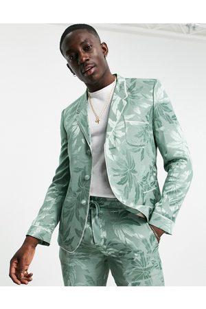 ASOS Slim pyjama suit jacket in floral sateen in green-White