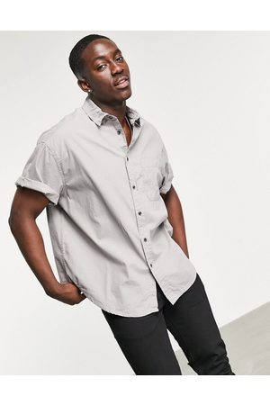 ASOS Boxy oversized washed poplin shirt in charcoal-Grey