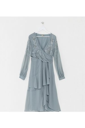 ASOS Curve Senhora Vestidos Midi - ASOS DESIGN Curve embellished wrap waist midi dress with double layer skirt and long sleeve-Blue