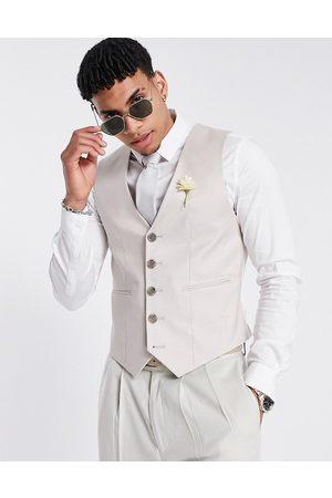 ASOS Wedding super skinny suit waistcoat in stone cotton linen-Neutral