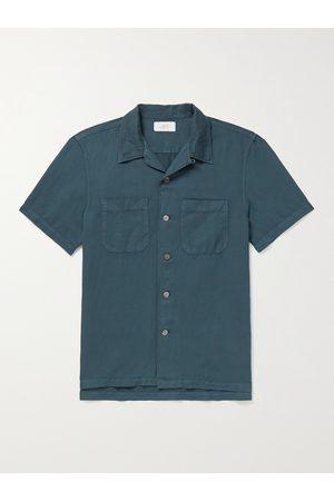 Mr P. Convertible-Collar Garment-Dyed Cotton and Linen-Blend Shirt