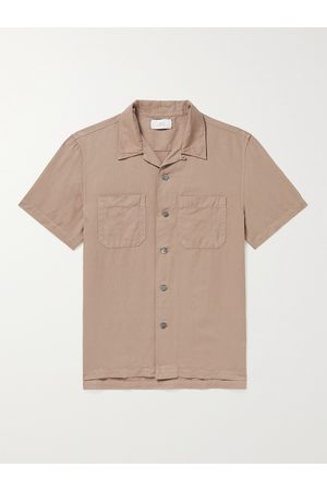 Mr P. Homem Casual - Convertible-Collar Garment-Dyed Cotton and Linen-Blend Shirt