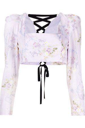 ULYANA SERGEENKO Cropped floral-print blouse