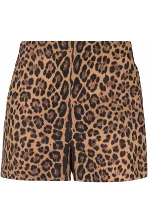 VALENTINO Leopard print high-waisted shorts
