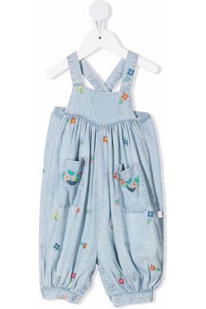 Stella McCartney Kids Floral-embroidered denim dungarees