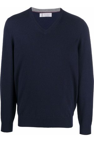 Brunello Cucinelli Homem Camisolas - V-neck cashmere jumper