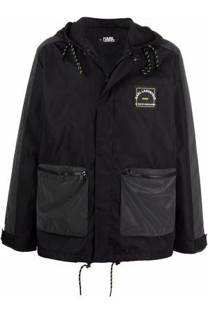 Karl Lagerfeld Logo-address hooded coat