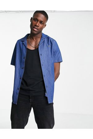 Farah Short sleeve stripe shirt-Blue