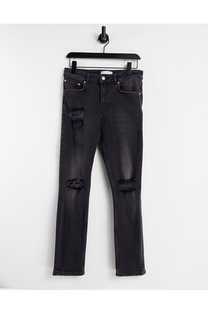 ASOS Stretch slim jeans with rips in washed black