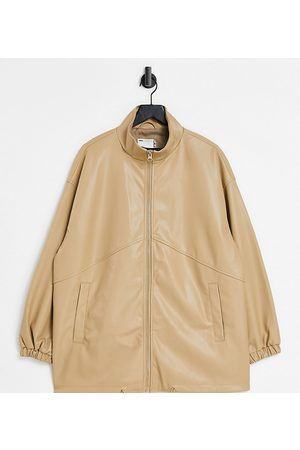 ASOS Senhora Casacos de Pele - Curve faux leather bomber jacket in camel-Grey