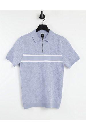 River Island Homem Pólos - Knitted polo in blue