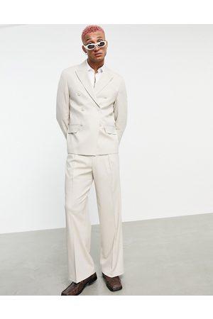 ASOS Homem Calças à Boca-de-sino - Wide leg suit trousers in beige-Neutral
