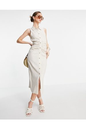 ASOS Senhora Vestidos Casual - Sleeveless midi shirt dress with ruching in stone-Neutral