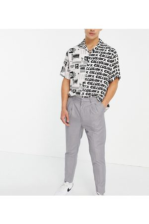New Look Homem Calças - Pleated smart trousers in grey