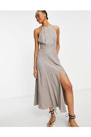 French Connection Senhora Vestidos de Festa - Due drape midaxi dress in walnut grey