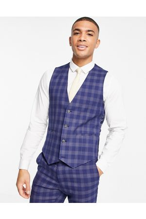ASOS DESIGN Wedding skinny suit waistcoat in blue and grey bold check