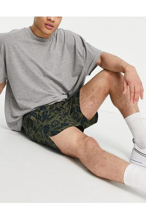 new era Co-ord shorts in green with navy floral print-Multi