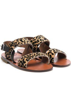 PèPè Leopard-print pony hair sandals