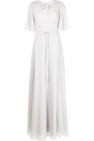 Marchesa Notte Draped-sleeve rear-cutout gown