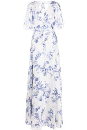 Marchesa Notte Floral-print wrapped maxi dress