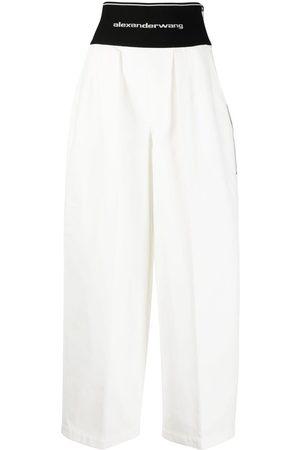 Alexander Wang Logo-waistband wide-leg trousers