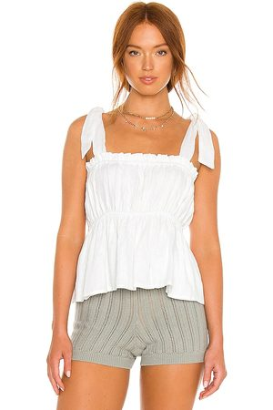 FAITHFULL THE BRAND Le Camille Top in - White. Size L (also in XS, S, M).