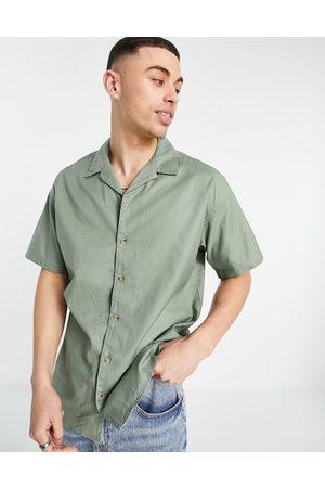 JACK & JONES Homem Manga curta - Originals short sleeve revere collar shirt in khaki-Green
