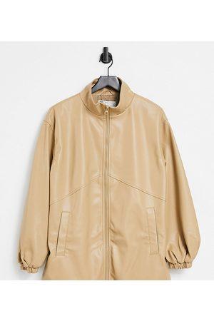ASOS Senhora Casacos de Pele - Tall faux leather bomber jacket in camel-Grey