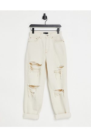 ASOS High rise 'slouchy' mom jean in stone with rips-Neutral