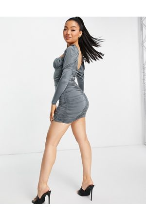ASOS Senhora Vestidos de Festa - Slinky long sleeve ruched bust mini dress in grey