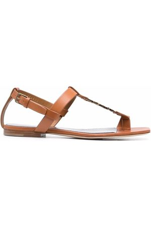 Saint Laurent Cassandra logo-strap flat sandals