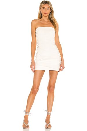 Amanda Uprichard Palma Leather Dress in - Ivory. Size L (also in XS, S, M).