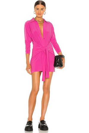 Norma Kamali X REVOLVE Mini Tie Front NK Shirt Dress in - Pink. Size L (also in M, S, XL, XS).