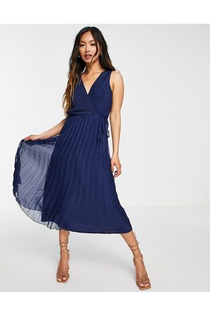ASOS Senhora Vestidos Midi - Wrap bodice midi dress with tie waist and pleat skirt-Navy