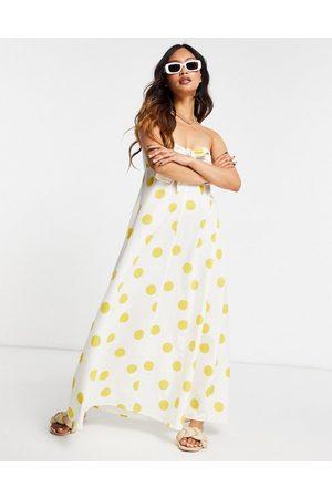 ASOS Senhora Vestidos Casual - Bandeau tie front maxi dress in oversized spot print-Multi