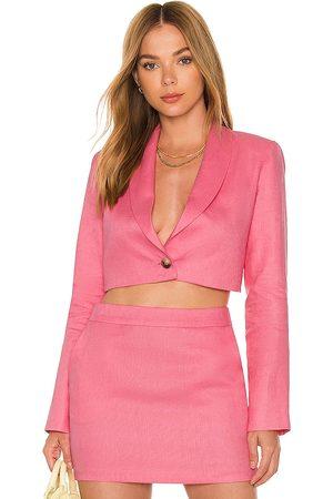 Amanda Uprichard X REVOLVE Linen Pembroke Blazer in - Pink. Size L (also in XS, S, M).
