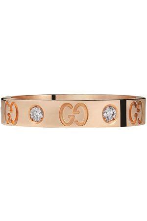 Gucci Senhora Anéis - Thin rose gold diamond icon ring