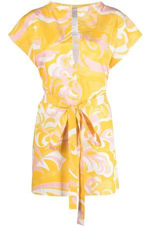 Emilio Pucci Senhora Vestidos Estampados - Albizia print tied beach dress