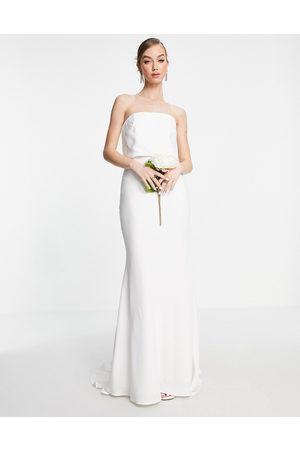 ASOS EDITION Evelyn satin bandeau wedding dress-White