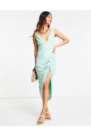 ASOS DESIGN Broderie plunge side ruched midi dress in sage-Multi