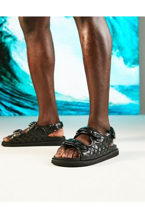 ASOS Quilted sandal with back strap in black