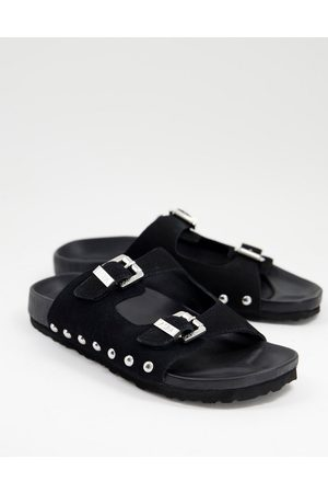ASRA Fabian studded two strap sandals in black suede