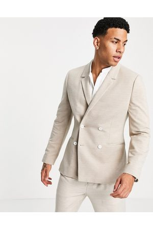ASOS Skinny pique jersey blazer with white buttons-Neutral