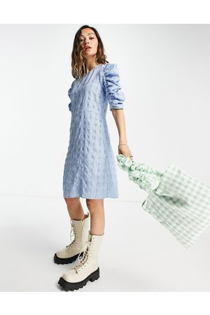 ONLY Textured mini dress with ruched sleeves in blue check-Multi