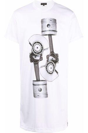 Comme Des Garçons Homme Plus Machinery print longline T-shirt