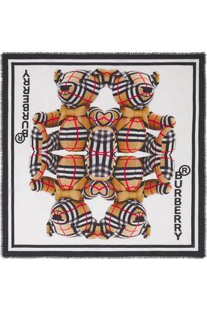 Burberry Thomas Bear-print Mulberry silk-blend scarf