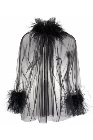 Styland Sheer feather-trimmed blouse