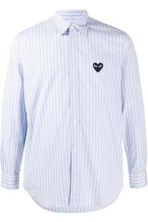 Comme Des Garçons Play Homem Formal - Heart patch striped shirt