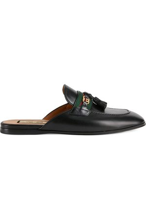 Gucci Web-stripe leather slippers