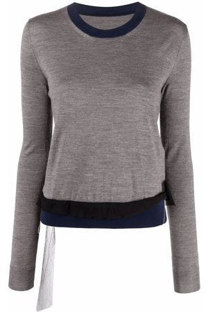 Maison Margiela Contrast-trim long-sleeve knitted top